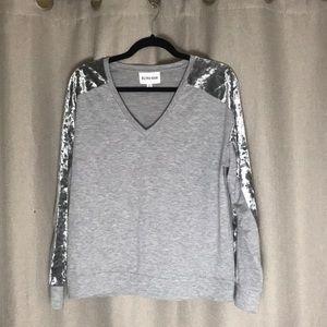 BRAND NEW Grey Sweatshirt Top with Velvet Detail